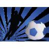 Ποδοσφαιριστής με εντυπωσιακό φόντο μπλε, αυτοκόλλητο τοίχου , κοντινό