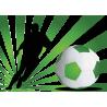 Ποδοσφαιριστής με εντυπωσιακό φόντο πράσινο, αυτοκόλλητο τοίχου , κοντινό