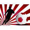 Ποδοσφαιριστής με εντυπωσιακό φόντο κόκκινο, αυτοκόλλητο τοίχου , κοντινό