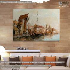 Old port, πίνακας σε καμβά με παλιό λιμάνι