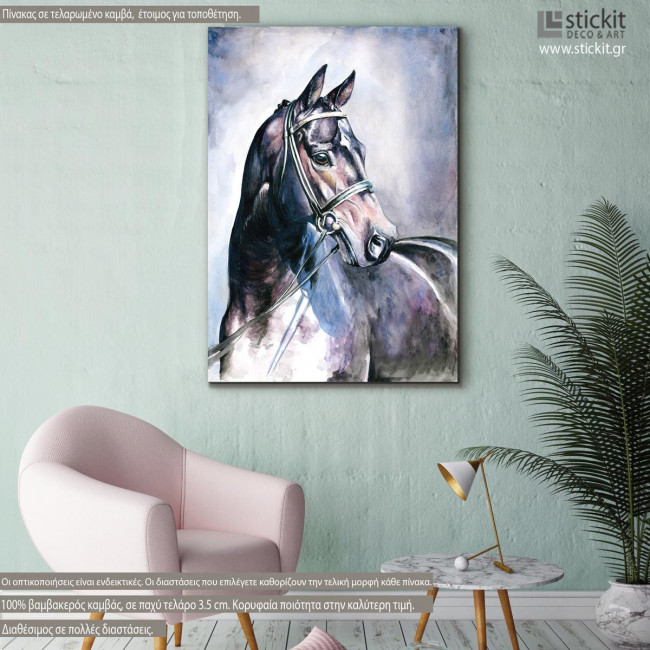 Black horse watercolors, πίνακας σε καμβά με άλογο