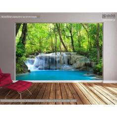 Deep forest waterfalls, φωτογραφική ταπετσαρία με δάσος και καταράκτες