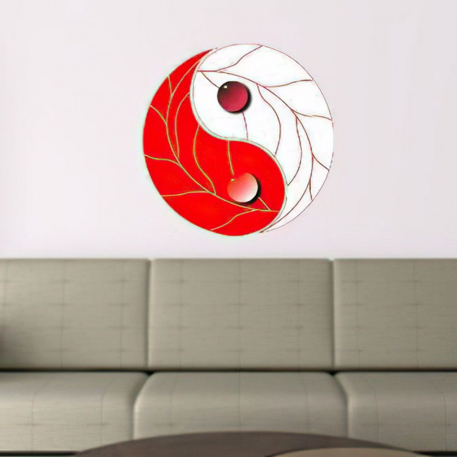 Γιν και Γιάνγκ ερυθρόλευκο αυτοκόλλητο τοίχου