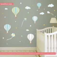 Αυτοκόλλητο τοίχου, αερόστατα, χαρταετοί, αστέρια, Balloons in the night sky
