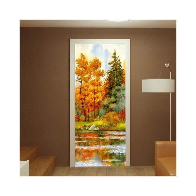 River in fall, αυτοκόλλητο πόρτας