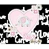 Ελεφαντάκι & καρδιά |Αυτοκόλλητο τοίχου