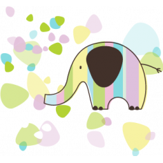 Ελέφαντας με όμορφα σχέδια φόντο ,Αυτοκόλλητο τοίχου