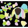Ελέφαντας με όμορφα σχέδια φόντο |Αυτοκόλλητο τοίχου