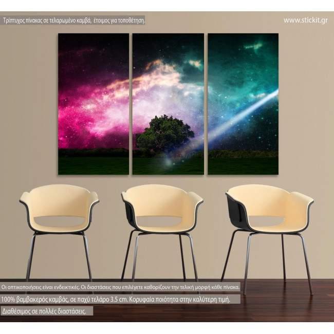 Trees Grass Clouds, τρίπτυχος πίνακας σε καμβά (multipanel)