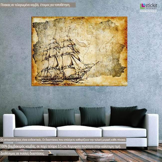 Ship vintage, πίνακας σε καμβά