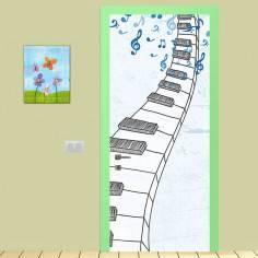 Αυτοκόλλητο πόρτας, Music door, παιδικό αυτοκόλλητο πόρτας