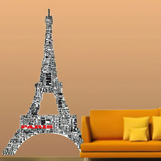 Αυτοκόλλητο τοίχου, O πύργος του Άϊφελ απο λέξεις