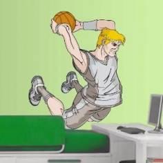 Μπασκετ κάρφωμα 4 Αυτοκόλλητο τοίχου