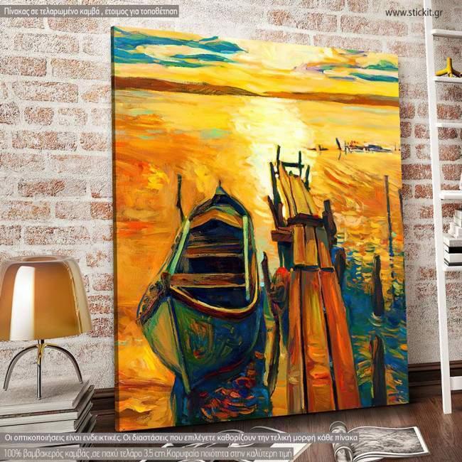Boat and pier, Τετράγωνος πίνακας σε καμβά