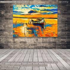 Ηλιοβασίλεμα στη λιμνοθάλασσα, πίνακας σε καμβά