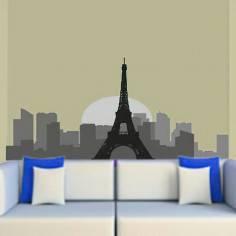 Παρίσι, Περίγραμμα σε γκρι αποχρώσεις , Αυτοκόλλητο τοίχου