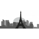 Αυτοκόλλητο τοίχου, Παρίσι περίγραμμα γκρι αποχρώσεις