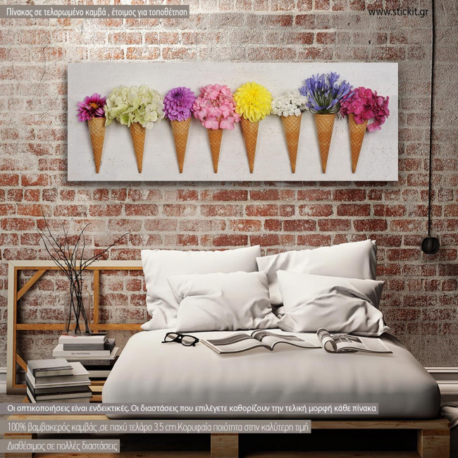 Πίνακας σε καμβά, Floral σύνθεση, πανοραμικός