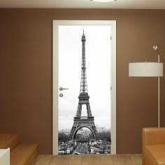 Eiffel tower grayscale, αυτοκόλλητο πόρτας