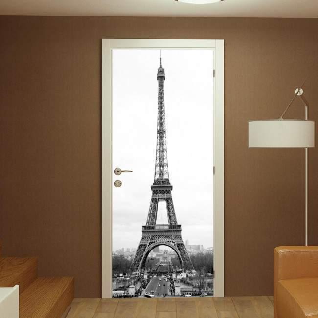 Eiffel tower greyscale, αυτοκόλλητο πόρτας