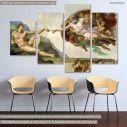 Πίνακας σε καμβά, The creation of Adam, Michelangelo, τετράπτυχος