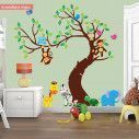 Αυτοκόλλητα τοίχου, ζωάκια ζούγκλας στο δέντρο, Jungle time ολόκληρη παράσταση