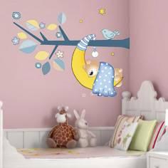 Αυτοκόλλητα τοίχου παιδικά, Αρκουδάκι που κοιμάται