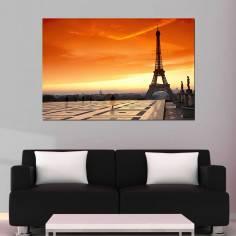 Πίνακας σε καμβά, Παρίσι ηλιοβασίλεμα, Eiffel sunset