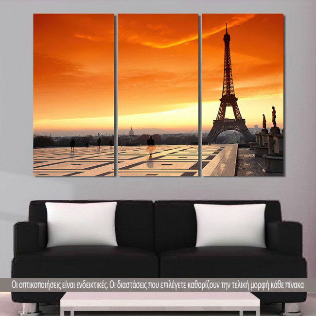 Πίνακας σε καμβά, Eiffel sunset, τρίπτυχος