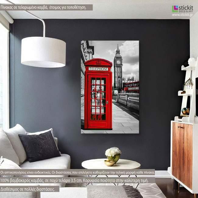 Πίνακας σε καμβά, Λονδίνο, Red London