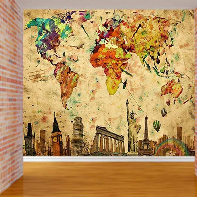 Παγκόσμιος τουριστικός χάρτης, φωτογραφική ταπετσαρία
