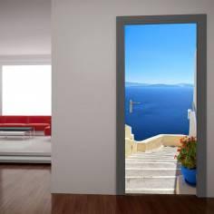 Σαντορίνη, θέα από ψηλά, αυτοκόλλητο πόρτας