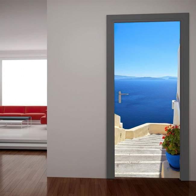 Σαντορίνη, θέα από ψηλά Αυτοκόλλητο πόρτας, ντουλάπας