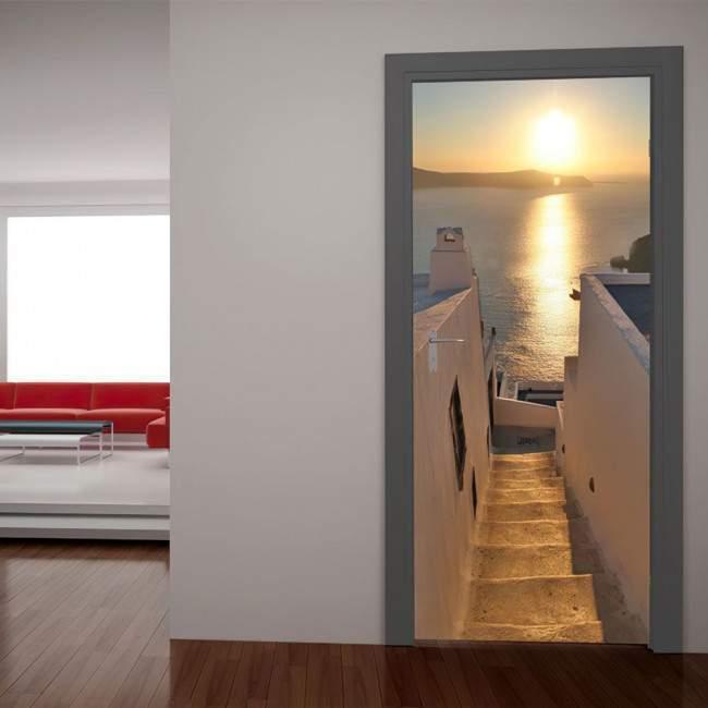 Ηλιοβασίλεμα στην Σαντορίνη Αυτοκόλλητο πόρτας, ντουλάπας