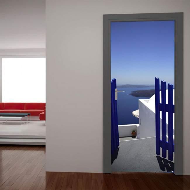 Πόρτα στο απέραντο γαλάζιο Αυτοκόλλητο πόρτας, ντουλάπας