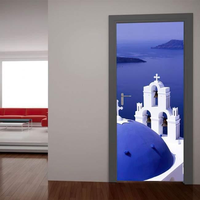 Λευκό & Γαλάζιο Αυτοκόλλητο πόρτας, ντουλάπας