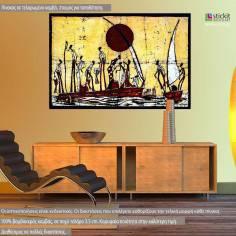 African scene batik style, πίνακας σε καμβά
