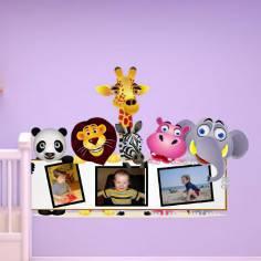 Αυτοκόλλητα τοίχου παιδικά, Ζώα της ζούγκλας με χώρο για φωτογραφία