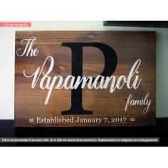 Πινακίδα ξύλινη Οικογένεια, οριζόντια, texture 1