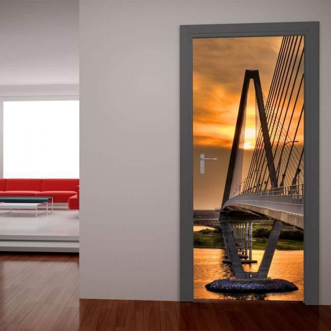 Γέφυρα στο ηλιοβασίλεμα Αυτοκόλλητο πόρτας, ντουλάπας
