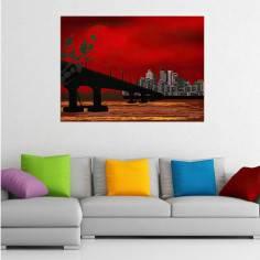 Πίνακας σε καμβά, γέφυρα ηλιοβασίλεμα, Red sunset on the bridge