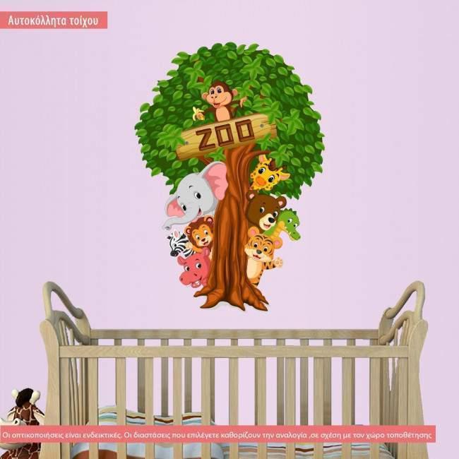 Αυτοκόλλητο τοίχου, με δέντρο και ζωάκια, Let's hide