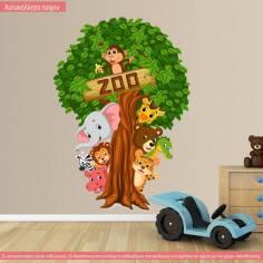 Αυτοκόλλητα τοίχου παιδικά, με δέντρο και ζωάκια, Let's hide