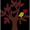 Καρδιά και πουλί σε υπέροχο συνδυασμό | Αυτοκόλλητο τοίχου, κοντινό