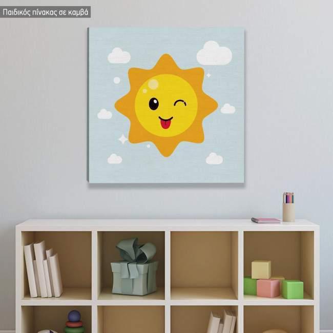 Παιχνιδιάρης Ήλιος, με όνομα, παιδικός - βρεφικός πίνακας σε καμβά, Συνδιασμος 1b