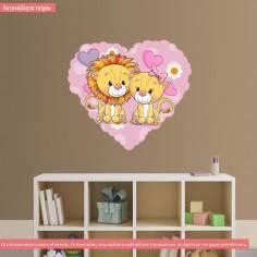 Αυτοκόλλητο τοίχου, καρδιά και λιονταράκια