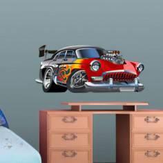 Αυτοκόλλητο τοίχου, Αγωνιστικό αυτοκίνητο cartoon