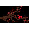 Ερωτευμένα πουλιά | Καφέ - Κόκκινο | Αυτοκόλλητο τοίχου