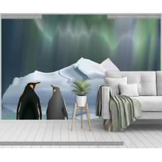 Πιγκουίνοι στη σειρά, φωτογραφική ταπετσαρία