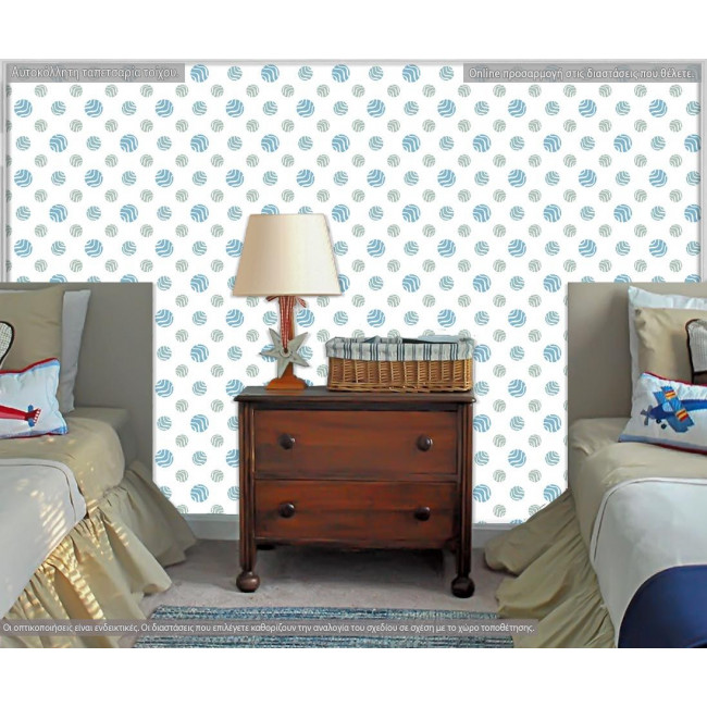 Globes blue, ταπετσαρία τοίχου με μοτίβo